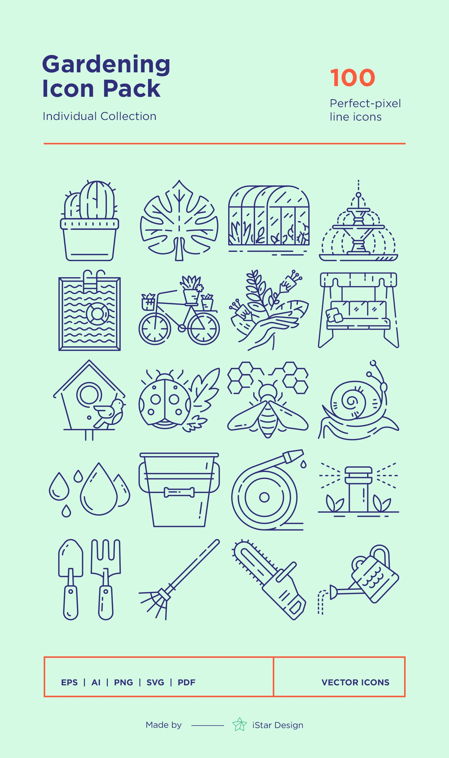 Download Gardening line Icons Set made by iStar Design