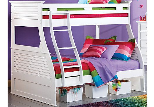 Shop for a Belmar White 5 Pc Twin Over Full Bunk Bed at Rooms To