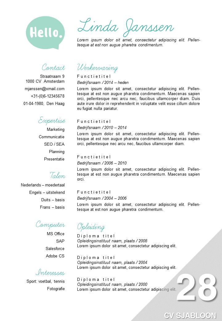 creatief cv sjabloon Word (With images) Resume template