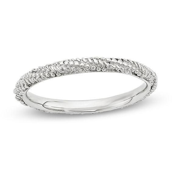 Zales Mens 2.0mm Beaded Twist Wedding Band in Sterling Silver