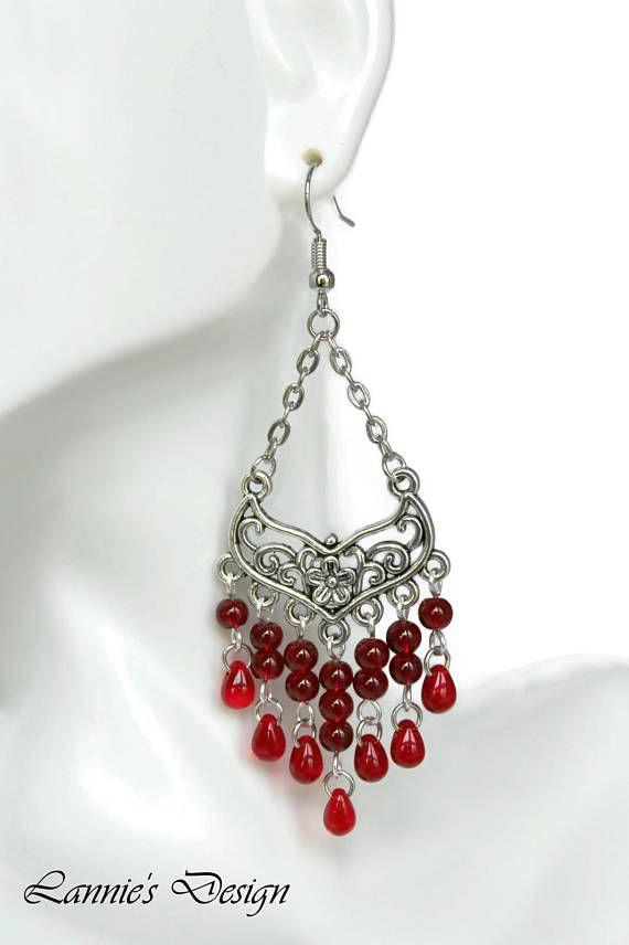 Red Flower Teardrop Chandelier Earrings Clip On Beaded Boho Chic Bohemian Post Lever Backs Statement