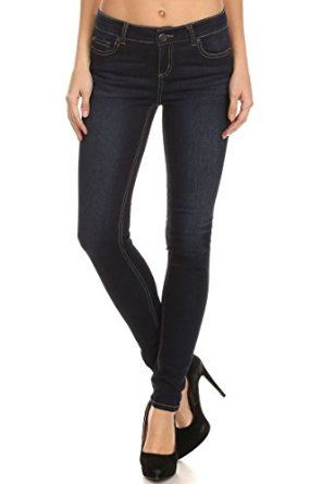 b39a53963c89 Enjean Women's Saturated Skinny Jeans with Contrast Stitching, Dark Wash at Amazon  Women's Jeans store