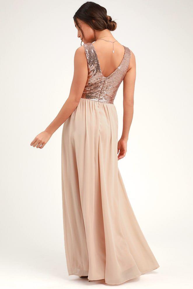 772e9697a1d Lovely Champagne Maxi Dress - Sequin Maxi Dress