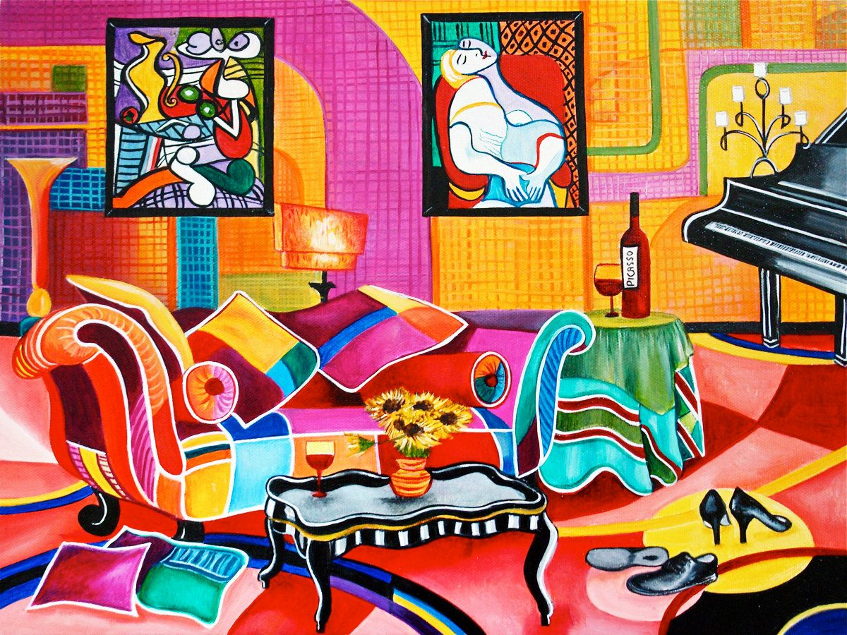 Art Print Still Life Interior Room Patchwork Sofa from Original Oil Painting Romancing Picasso by k Madison Moore - pinned by pin4etsy.com