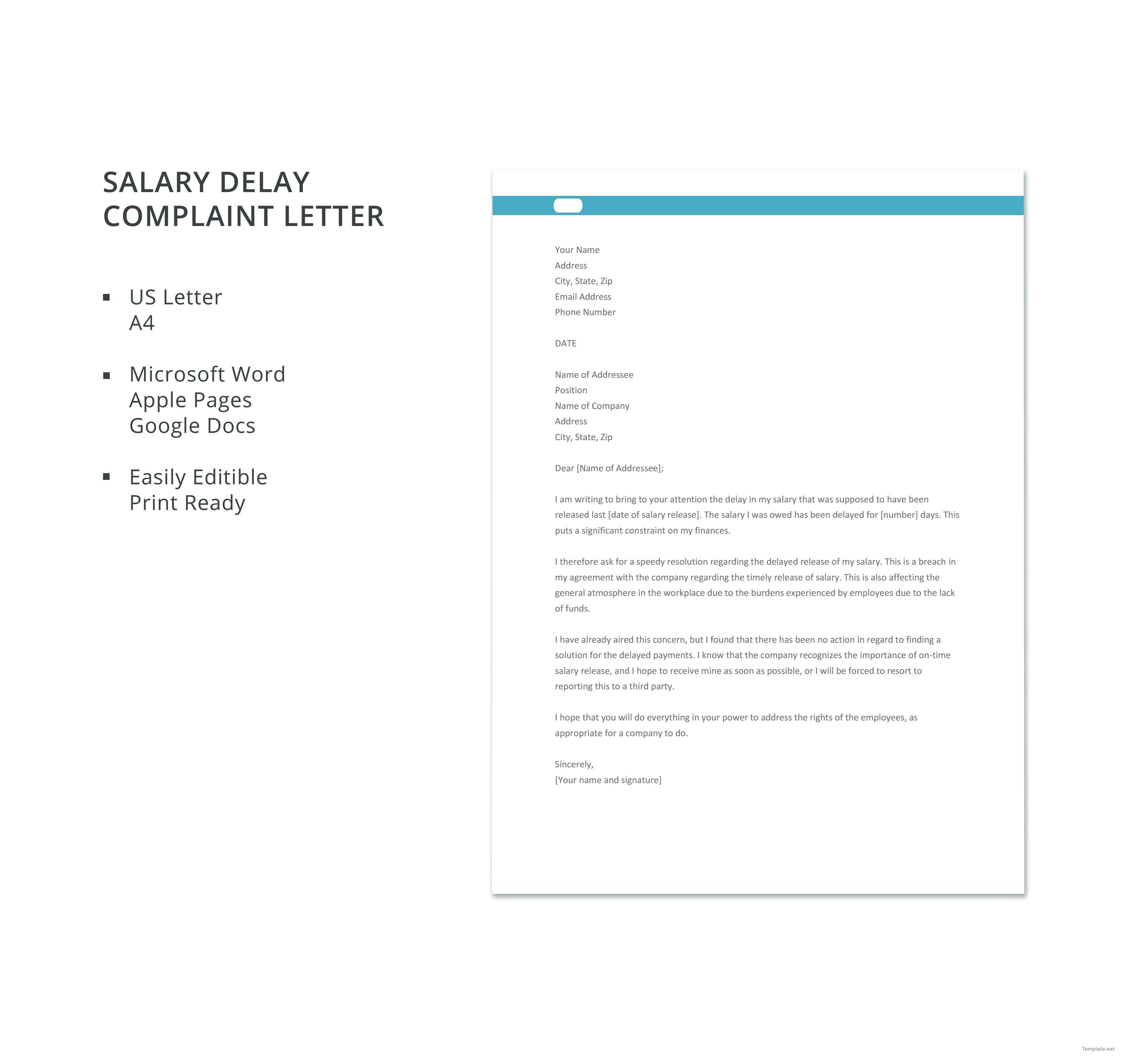 Zip Descargar Free Salary Delay Complaint Letter | Bbgv