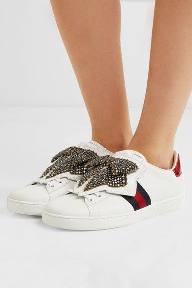 Gucci - Ace crystal-embellished watersnake-trimmed leather sneakers