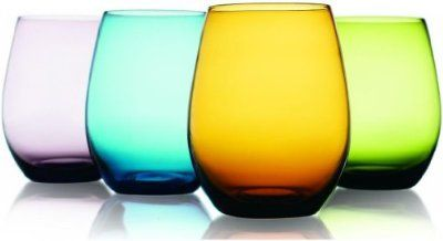 Purchase the Attractive Set of Four (4) Unique Colored Stemless Wine Glasses 16-oz ~ Party Drinking Glassware Set at charingskitchen.com