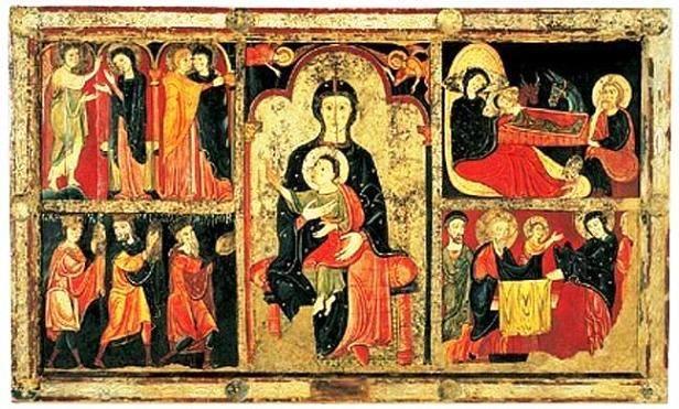Frontal de altar de Aviá (1170 – 1190): Pintura al temple sobre tabla con relieves de estuco y corladura. Procede de la iglesia parroquial de Santa María de Aviá (Berguedá).