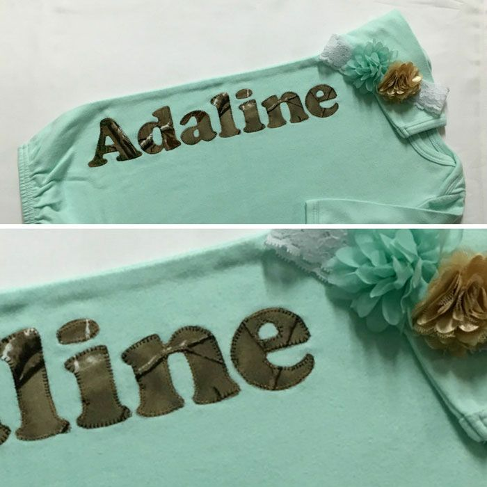 Personalized Camo Baby Gown and Headband