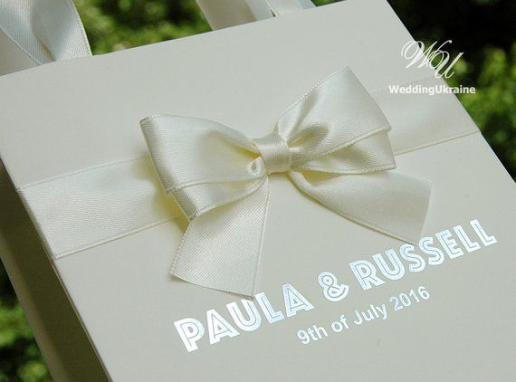 50 Ivory Wedding Gift Bags With Satin Ribbon Bow And Silver Foil