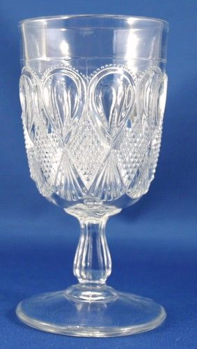 Pressed Glass Goblet With Diamond And Fan And Teardrop Pattern Glass Pressed Glass Goblet