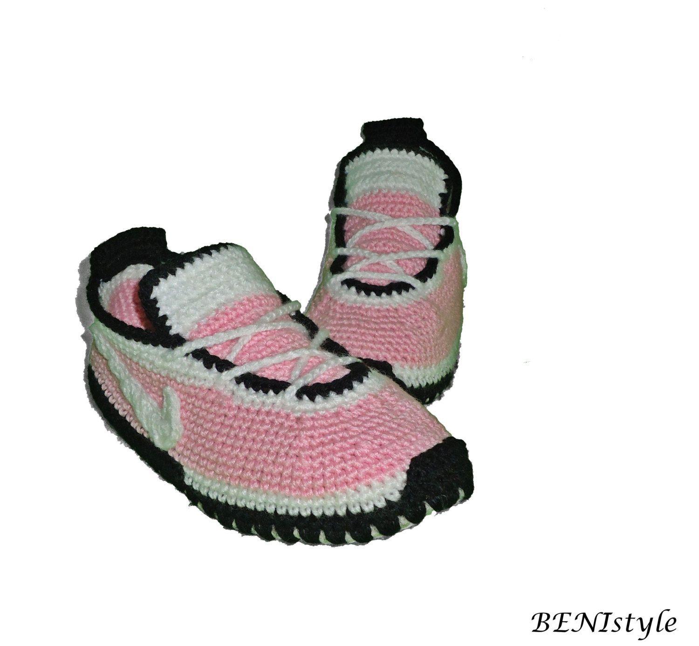 Crochet Women Converse, Pink Converse Slippers, Crochet Women Shoes ...
