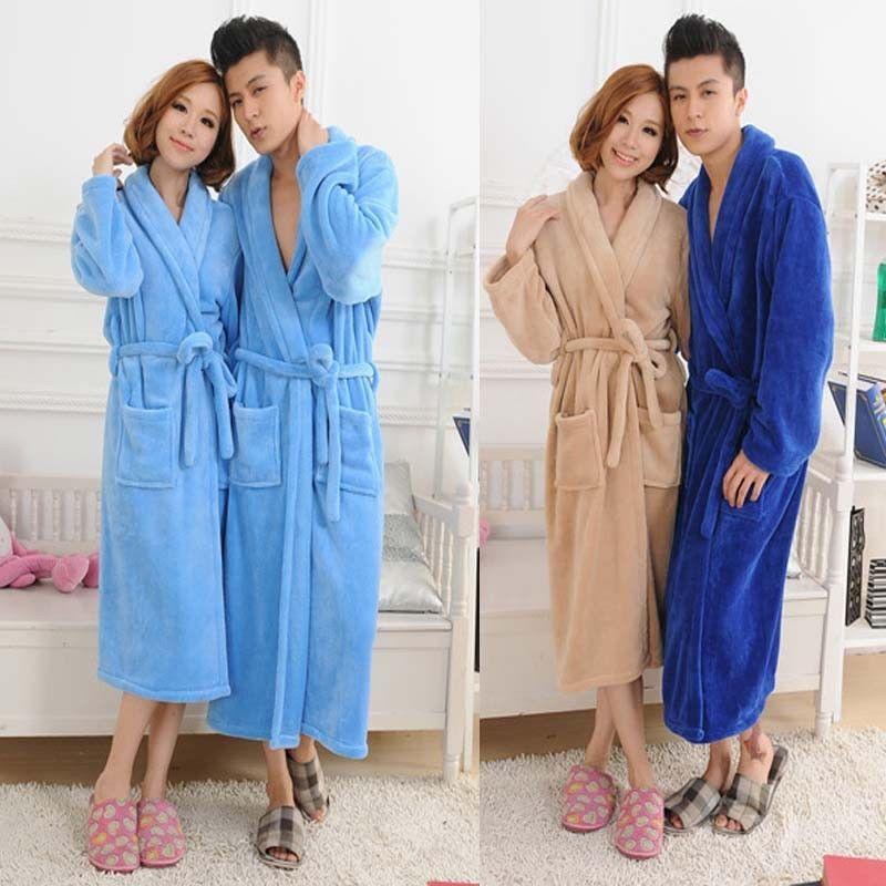 Loose Women Men Long Sleepwear Robes Shawl Collar Bathrobe Spa Coral Fleece  HOT  fashion   d10313ac5