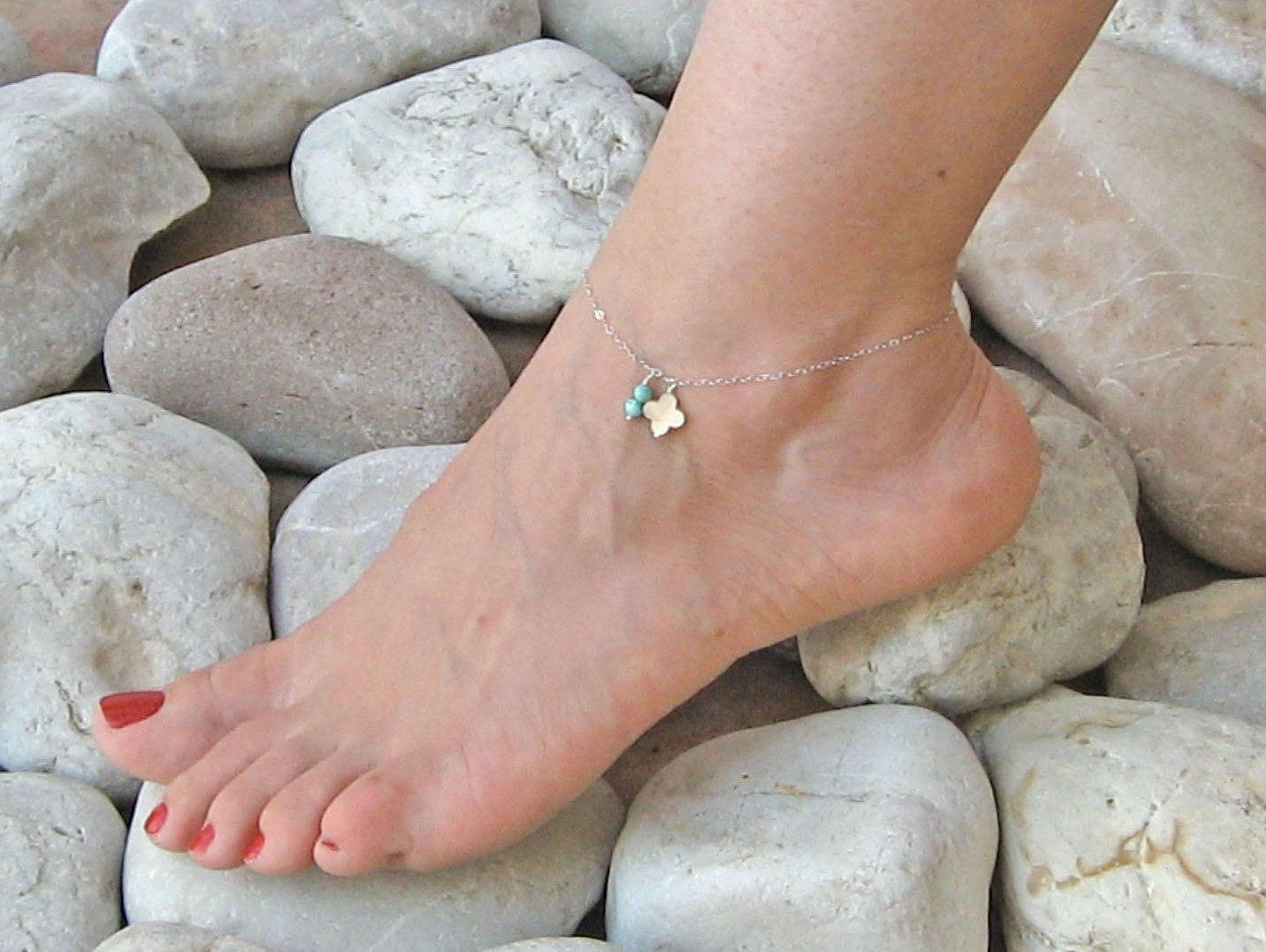 dangle ankle bracelets anklet bracelet gold pin turquoise silver fill sterling