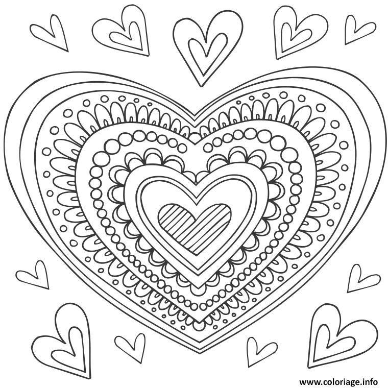 coloriage mandala coeur dessin imprimer - Dessin Mandala Imprimer