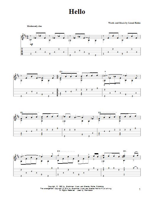 Lionel Richie Hello Partition Tablature Guitare Plus De 70000