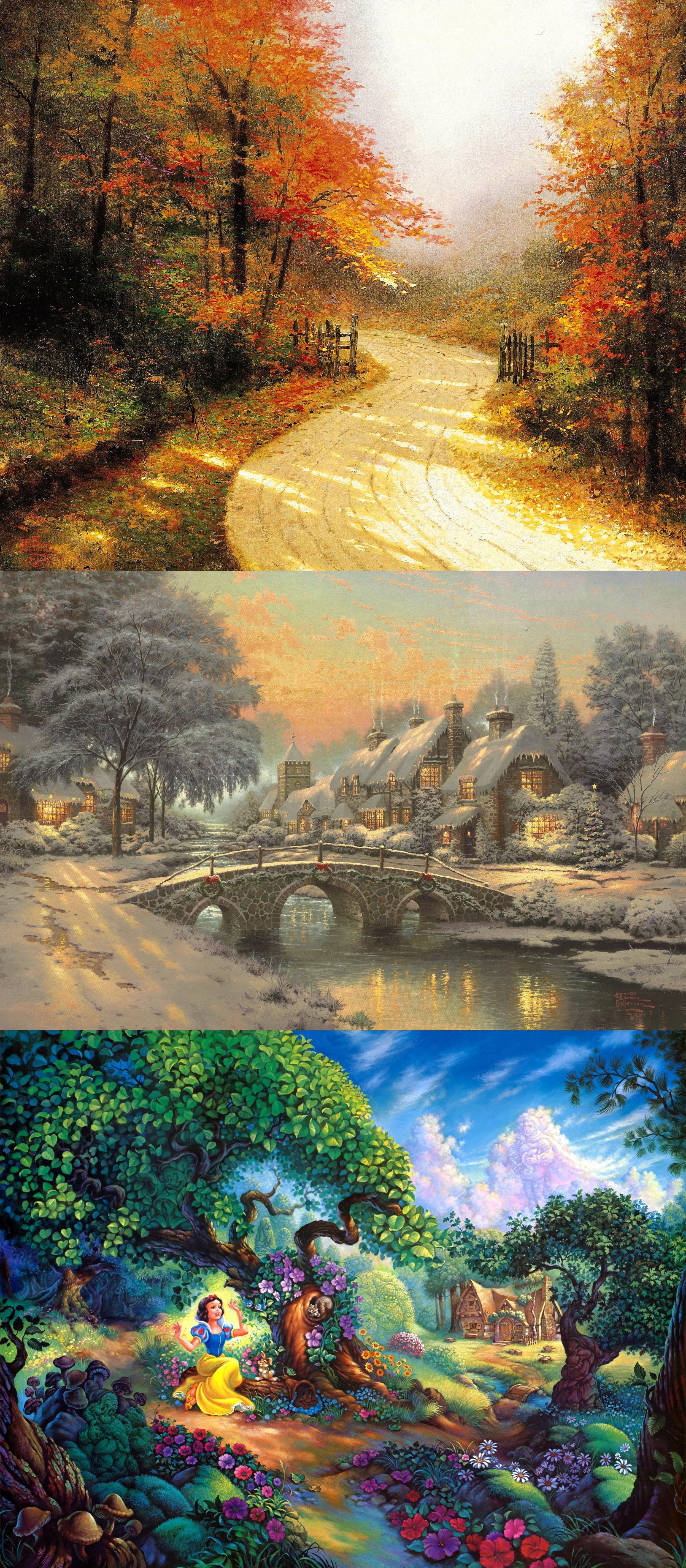 snow whites magical forest tom dubois painting walt disney