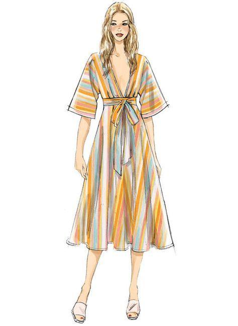 Very Easy Vogue Pattern V9253 MISSES\' DEEP-V KIMONO-STYLE DRESSES ...