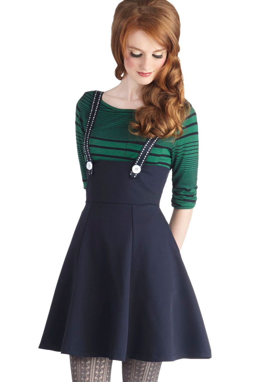 1580d8410122b Lattes to Talk About Jumper in Navy | Mod Retro Vintage Skirts | ModCloth .com