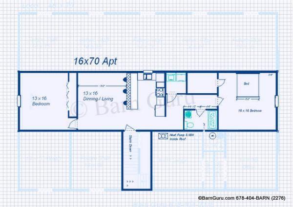 Apartment Floor Plan For Monitor Style Horse Barn Barn