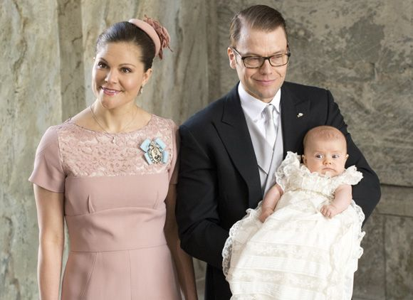 The Crown Princess of Sweden and Prince Daniel at the baptism of their daughter, Princess Estelle