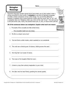 Worksheet - Metaphor Meanings | Worksheets, Language and Language arts