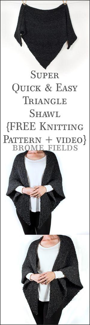 FREE Triangle Shawl Knitting Pattern + Video | Chal,shawl,capitas ...
