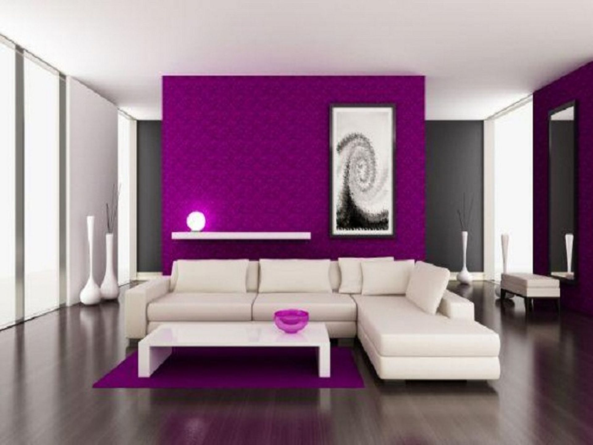 High Quality [Featured] : Minimalist Living Room Decor Ideas With Purple Color Along  With White Comfy Coush With Cushion Coffee Table And Dark Laminating Floor  With ... Part 28