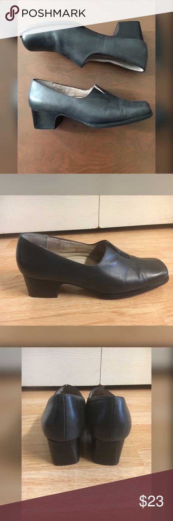 """Strictly Comfort Gray Leather Block Heel Loafers Designer: Strictly Comfort Condition: Worn once, light heel wear Size: 9M Content: Leather upper, balance man-made materials Heel: 1 7/8"""" Width: 3 1/8"""" Insole: `10 1/4"""" *slight bleeding inside from black tights worn with shoes * see pics Strictly Comfort Shoes Heels"""
