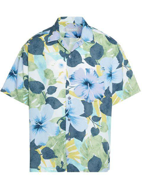 35dda0b3 Spring 2019] Hibiscus Palm Indigo Men's Hawaiian Shirt | Hawaiian ...