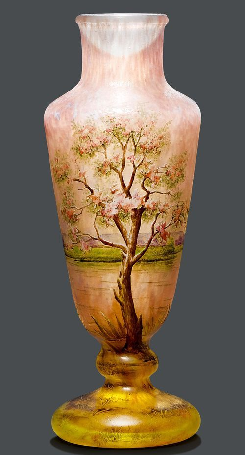 Daum Nancy Vase Circa 1900 Lilac Glass Etched And Enamelled With A