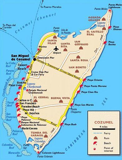 Cozumel Map Cruise In 2019 Cozumel Cruise Cozumel Mexico Cruise