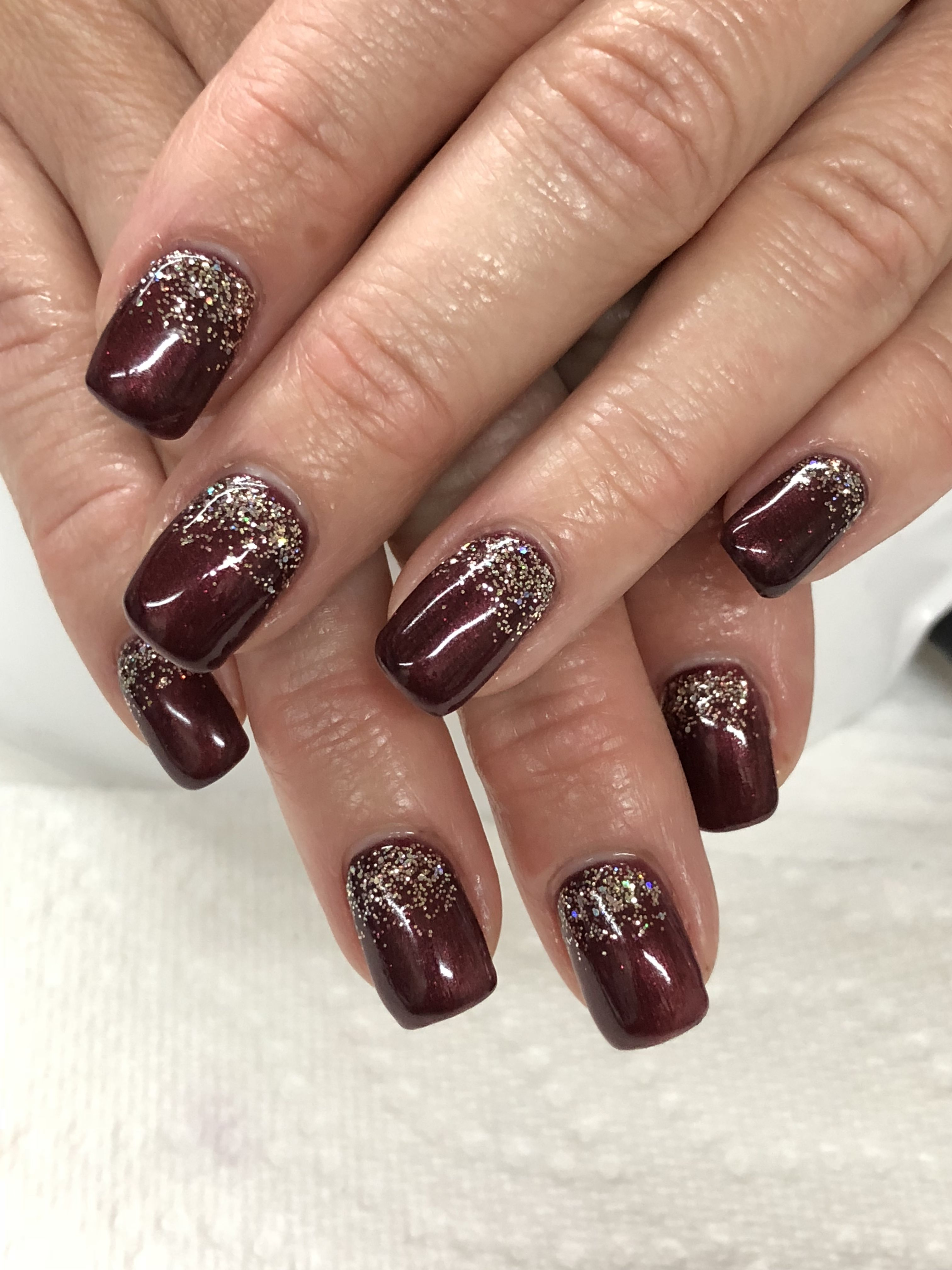 Mahogany Fall Glitter Ombre Gel Nails Light Elegance Tell Tale Heart Champagne Champagne Nails Ombre Gel Nails Gel Nail Light