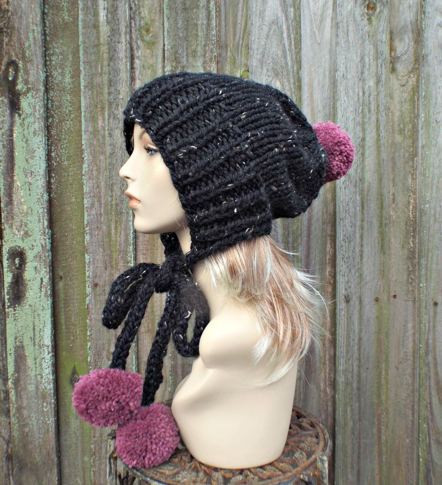 Crochet Slouchy Beanie Hat with POM POM BLACK