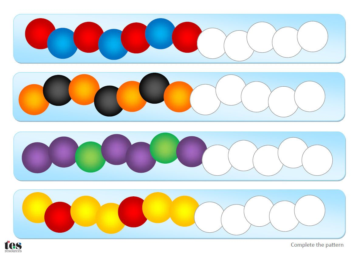 Activities based around continuing simple patterns with beads. All patterns included use 2 or 3 colours colours. Pupils can recreate and complete the patterns using strings and beads or, if preferred, pupils can complete the patterns using coloured pencils. A blank version is included so pupils can move onto creating their own patterns