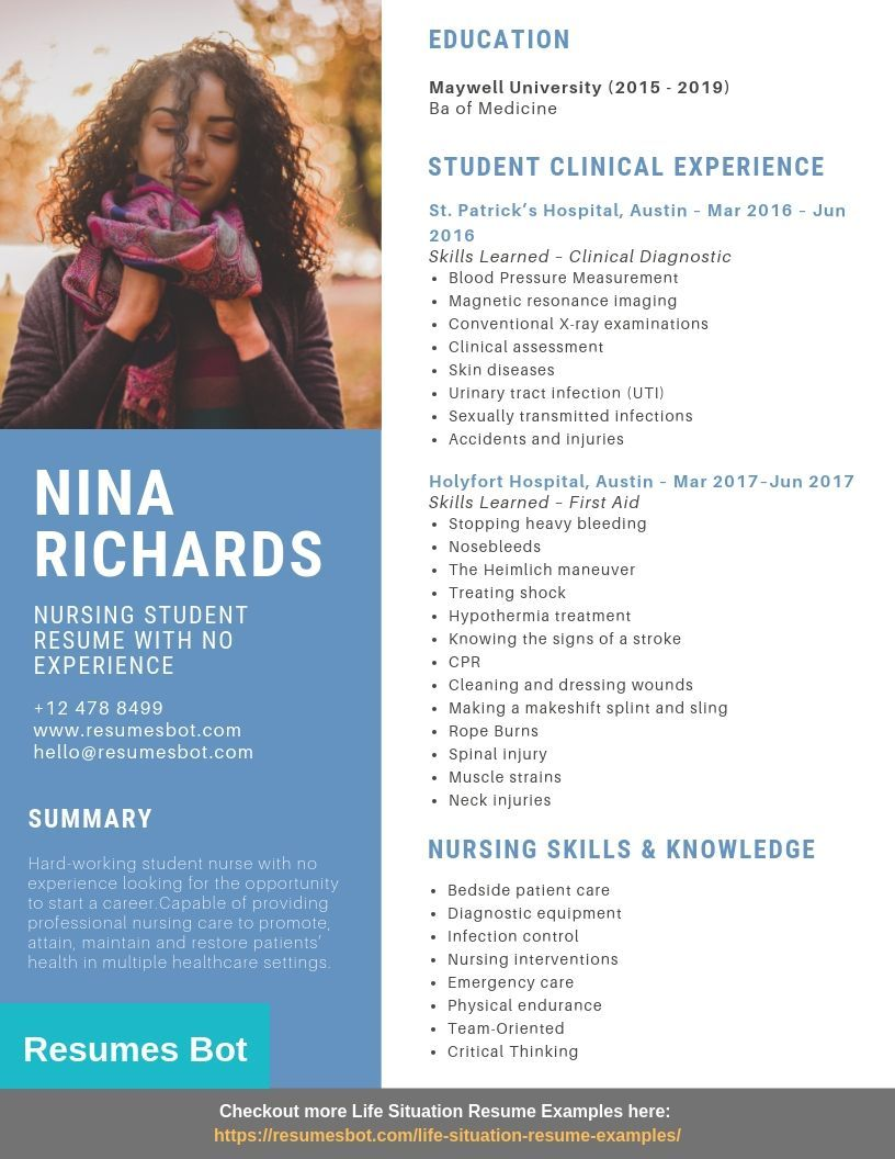nursing student with no experience resume samples