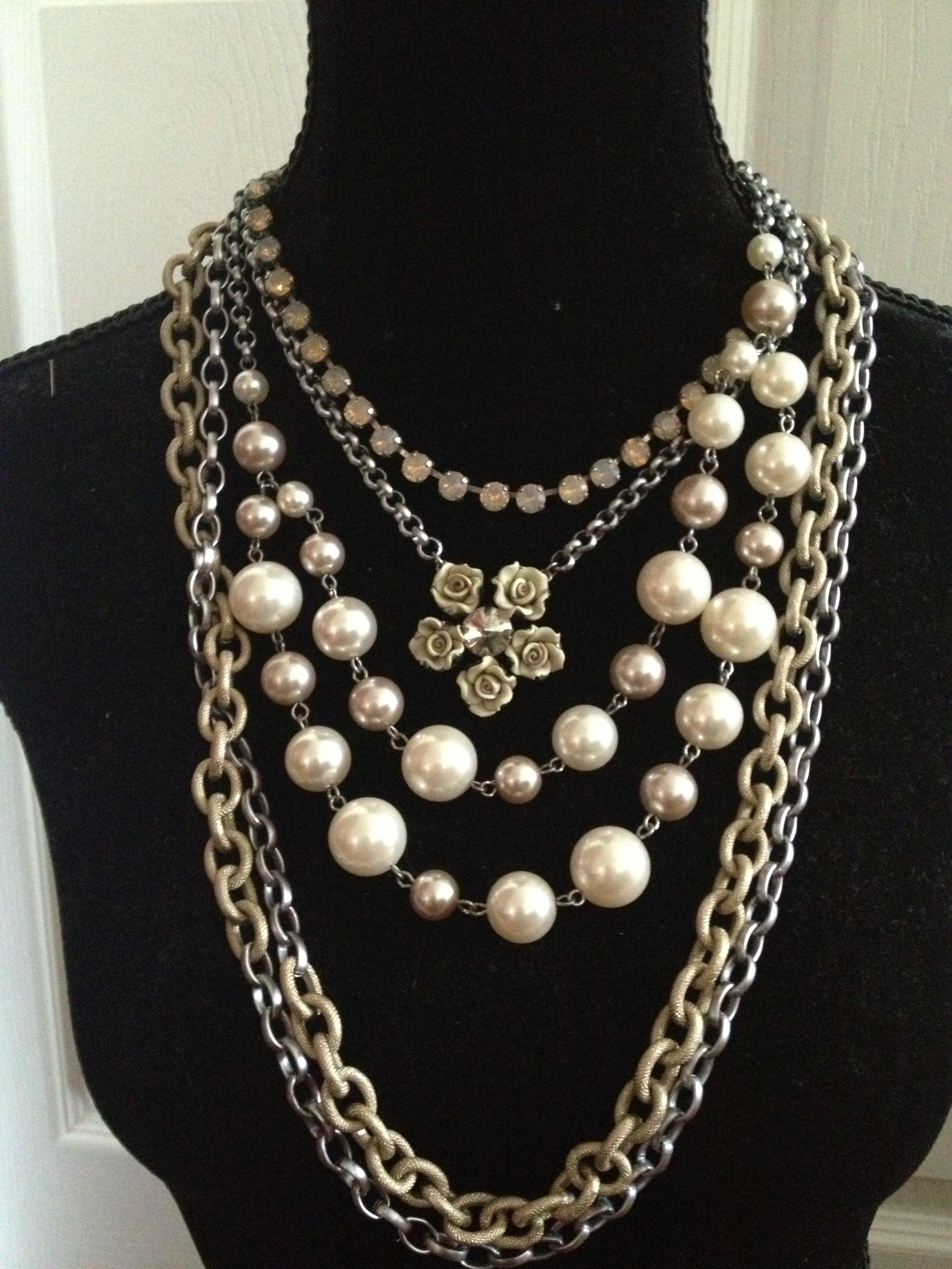 Sabika mix and match. W13 Print Ideas London choker and Rose necklace, Raw elegance Pearl choker S13 Kimono extra long necklace