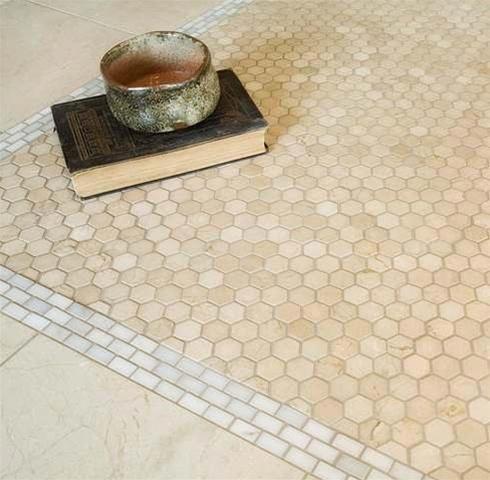 crema marfil   hexagon   honed mosaic tiles   shower