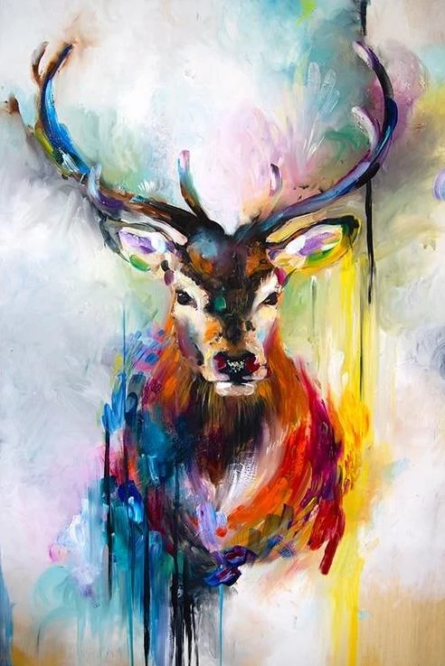 """DIY Painting By Numbers Abstract Deer(16""""x20"""" / 40x50cm"""