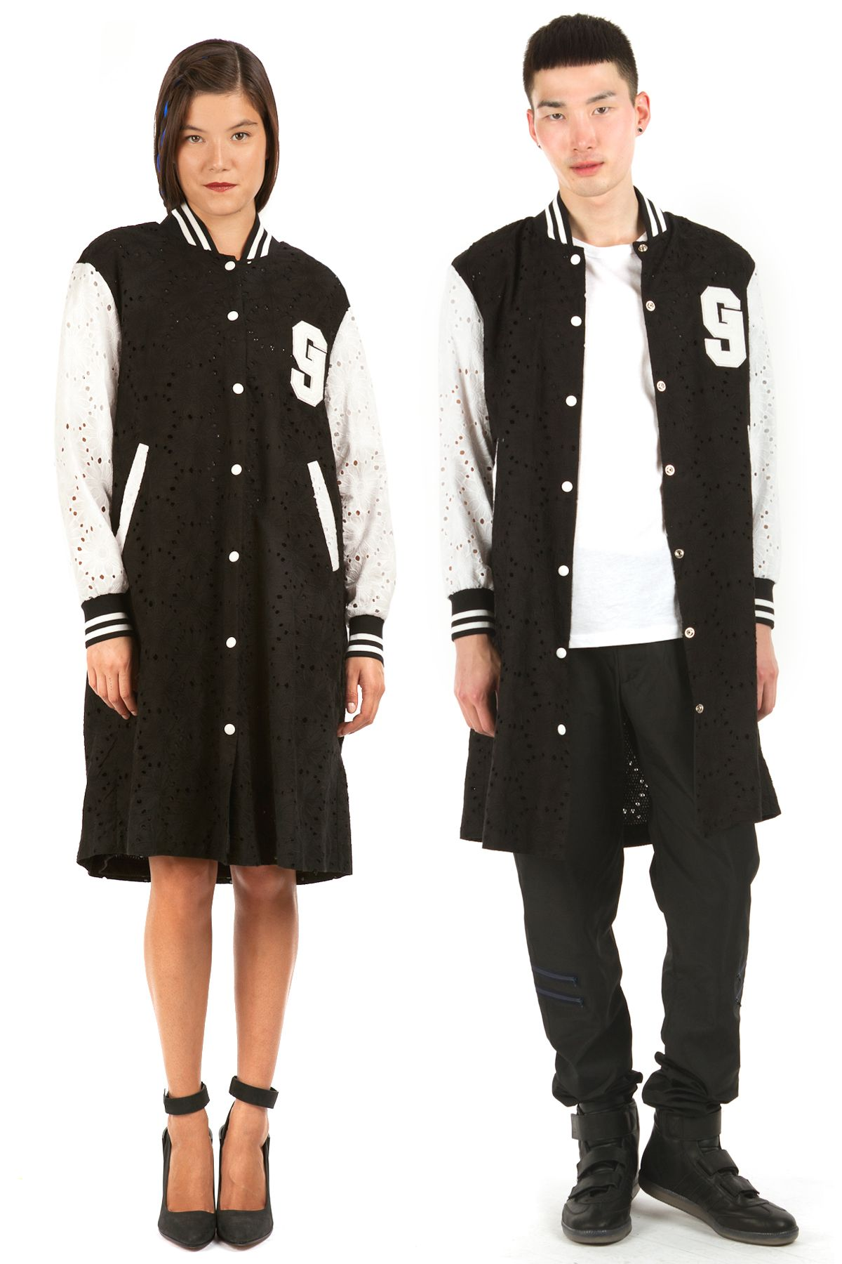 LONG LACE BASEBALL JACKET by GOEN.J | fashion | Pinterest | Lace ...
