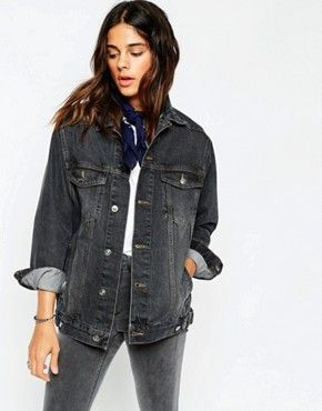 a3e96f2a91ce ASOS Denim Girlfriend Jacket in Washed Black | Things to Buy | Jean ...