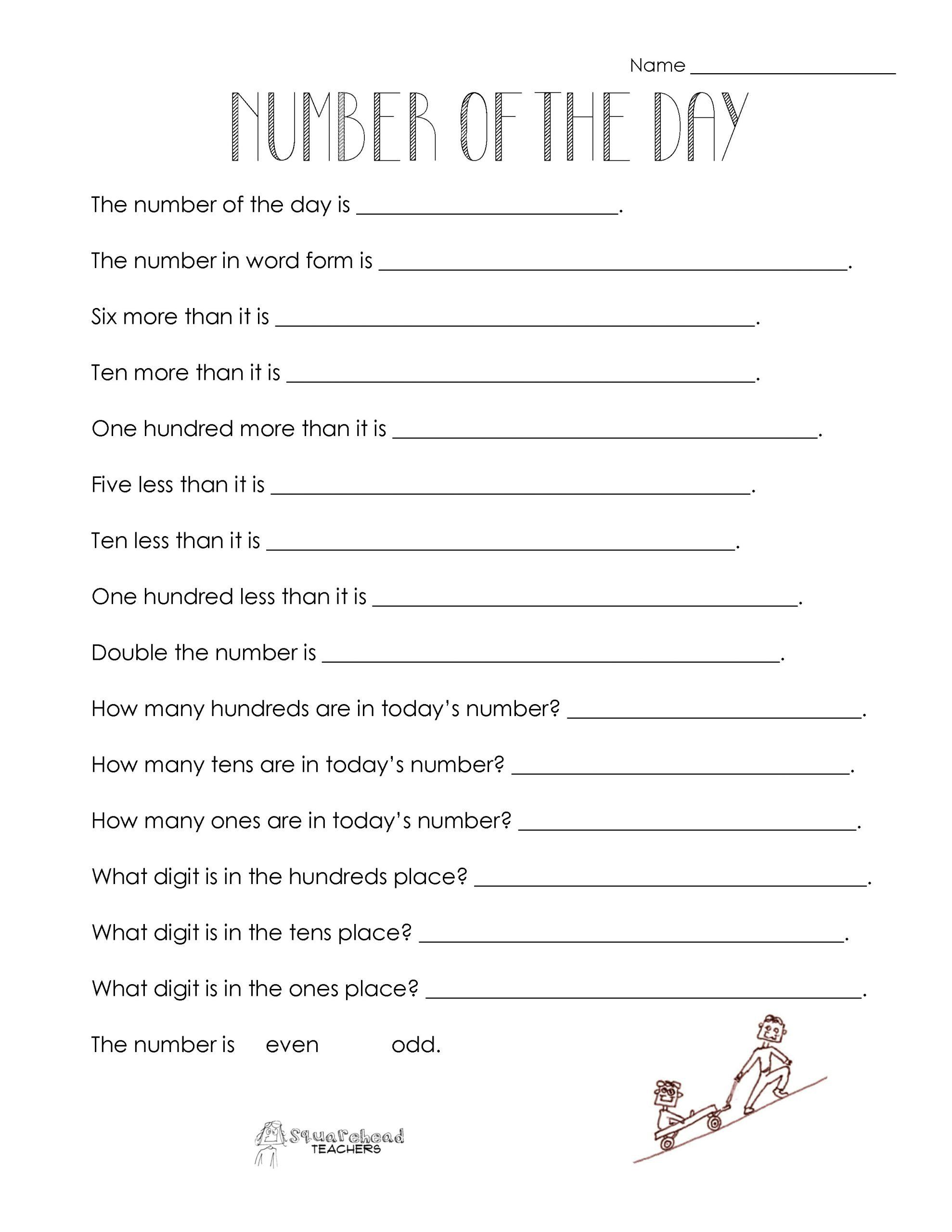 Sequencing Worksheet 2nd Grade Number Of The Day Worksheet