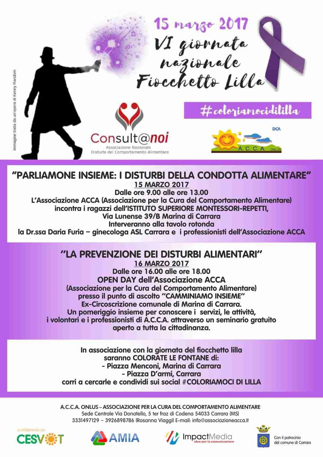 032267f9a5 #DCA #Carrara - In occasione della VI Giornata Nazionale del  #FiocchettoLilla, #