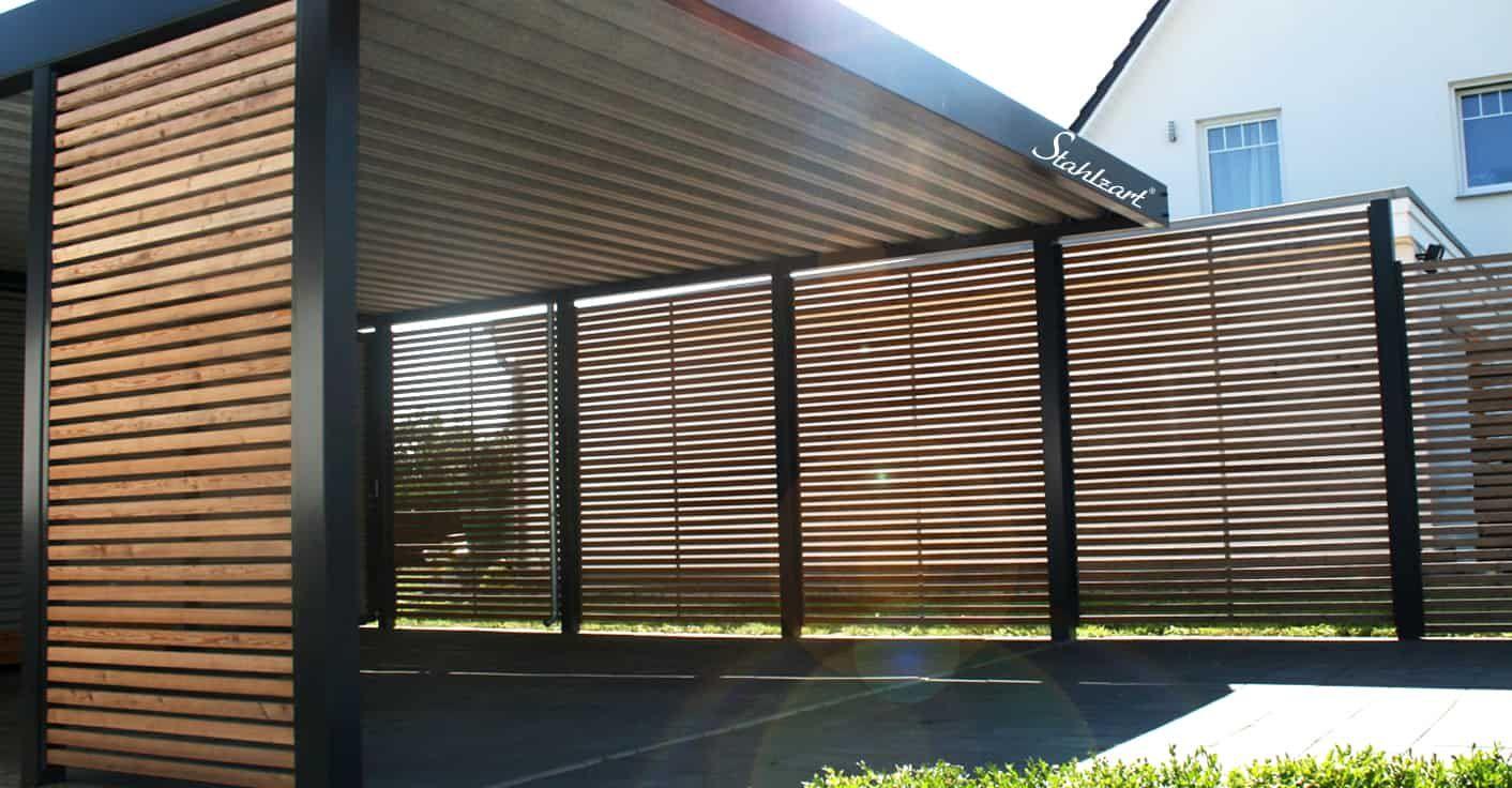 carport sichtschutz holz l rche metall rostock flachdach stahlzart zaun dekorationen