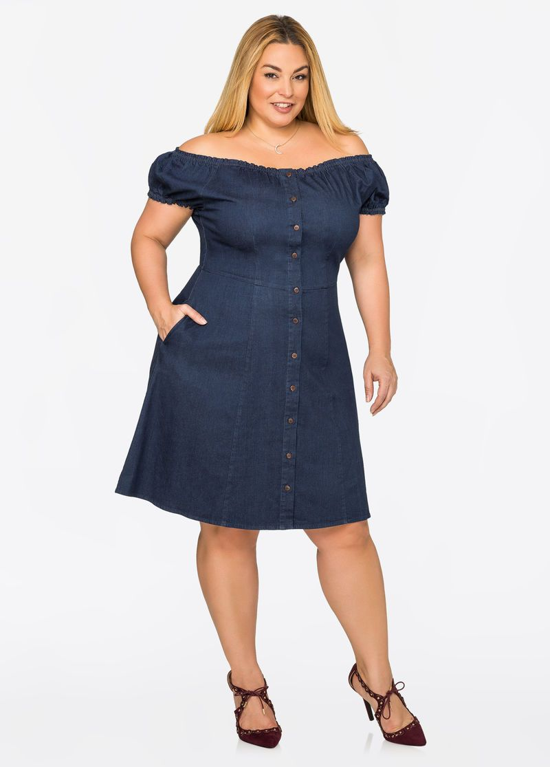 Off-Shoulder Denim Skater Dress   Plus size dresses, Fashion ...