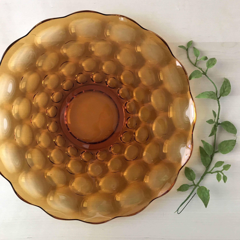 Amber Glass Serving Plate Platter|Appetizer Plate|Dessert Sandwich Platter|Large Cake Plate|Party Ware|Wedding|Mid Century|Retro & Amber Glass Serving Plate Platter|Appetizer Plate|Dessert Sandwich ...