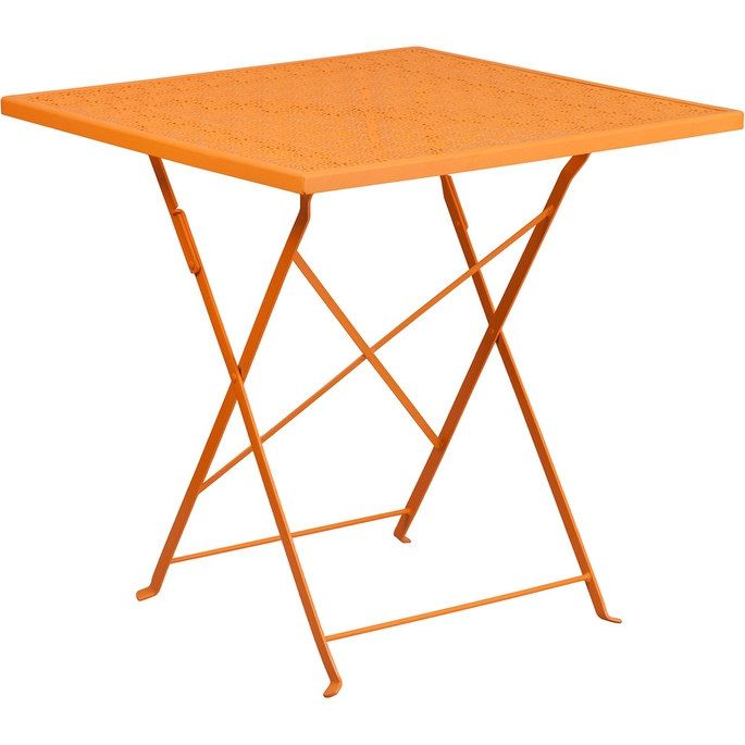 ihome westbury square 28 orange steel folding table for indoor rh pinterest co uk