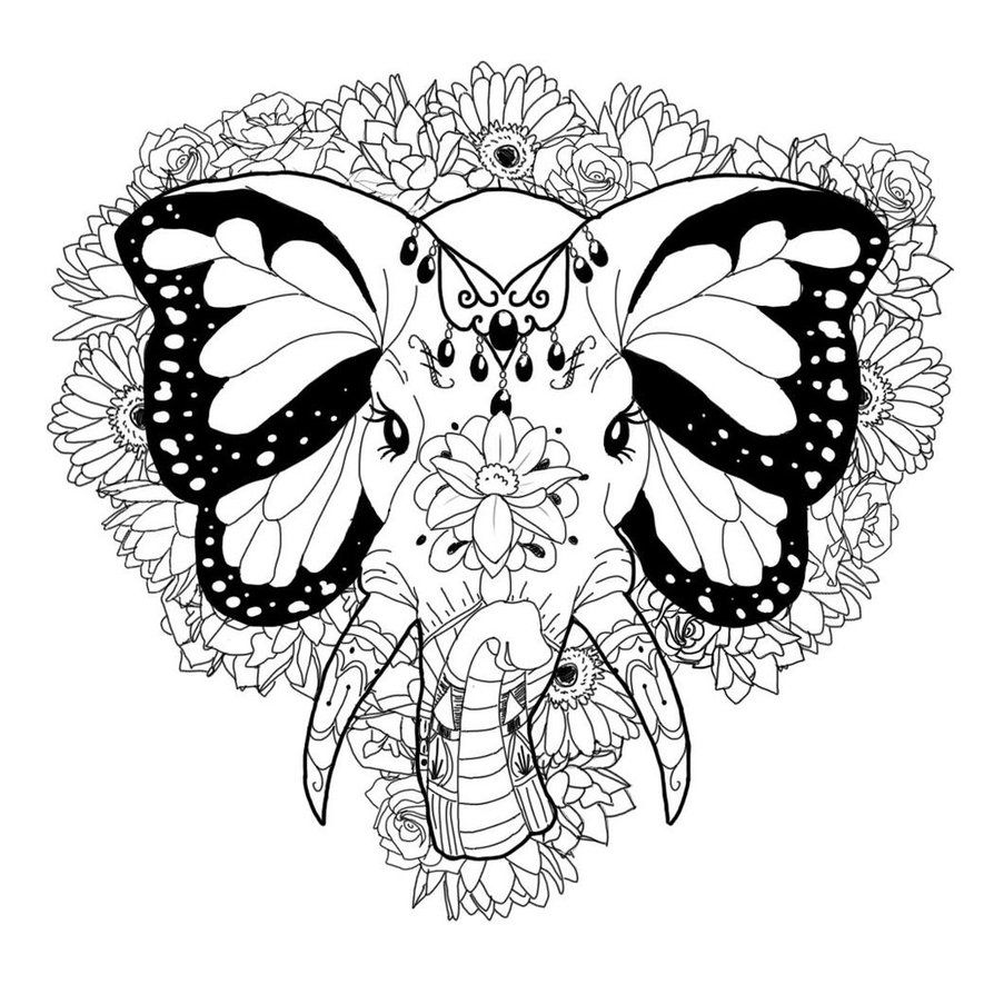 tribal elephant coloring pages for adults - Google Search | Elephant ...