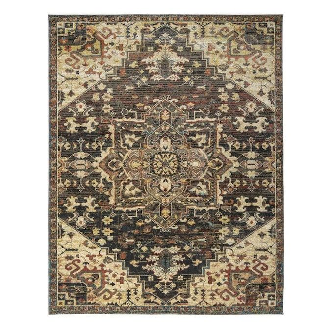 G A Gertmenian Sons Davos 8 X 10 Brown Indoor Medallion Area Rug Lowes Com Rugs Medallion Rug Area Rugs