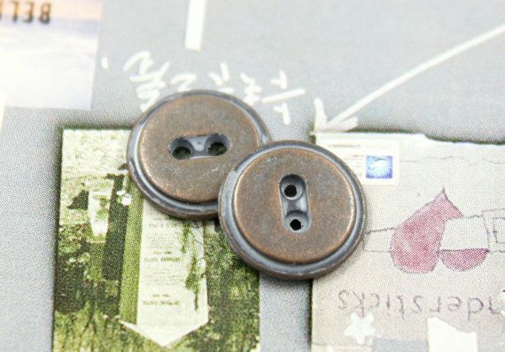 Pastel Blue Copper Metal Buttons  2 Holes  0.43 inch  by Lyanwood, $4.00